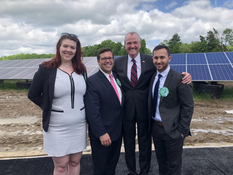 Alex Ambrose, Ed Potosnak, and Henry Gajda pose with Governor Murphy