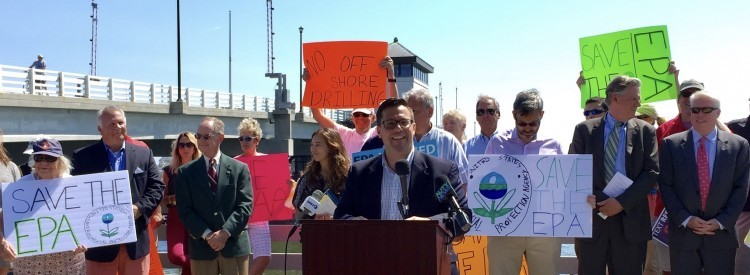 Environmentalists oppose Trump's budget cuts at a news conference at the Mantoloking Bridge.